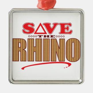 Rhino Save Metal Ornament