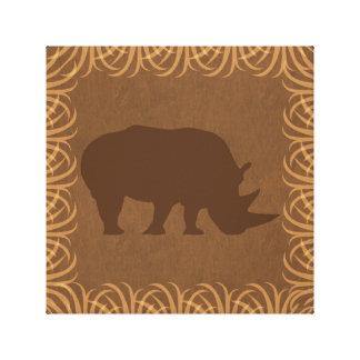 Rhino Silhouette | Facing Right | Safari Theme Canvas Print