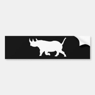 Rhino Silhouette, left facing, Black Background Bumper Sticker