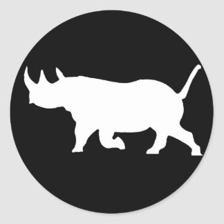 Rhino Silhouette, left facing, Black Background Classic Round Sticker