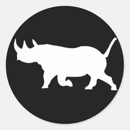 Rhino Silhouette, left facing, Black Background Stickers