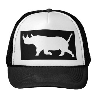 Rhino Silhouette, left facing, Black Background Trucker Hat