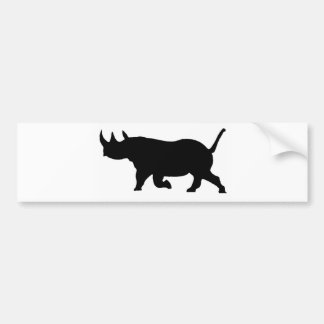 Rhino Silhouette, left facing, White Background Bumper Sticker