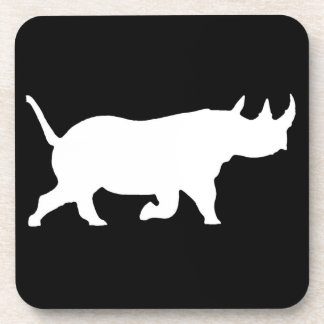Rhino Silhouette, right facing, Black Background Beverage Coaster