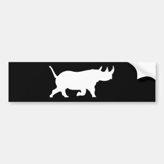 Rhino Silhouette, right facing, Black Background Bumper Sticker