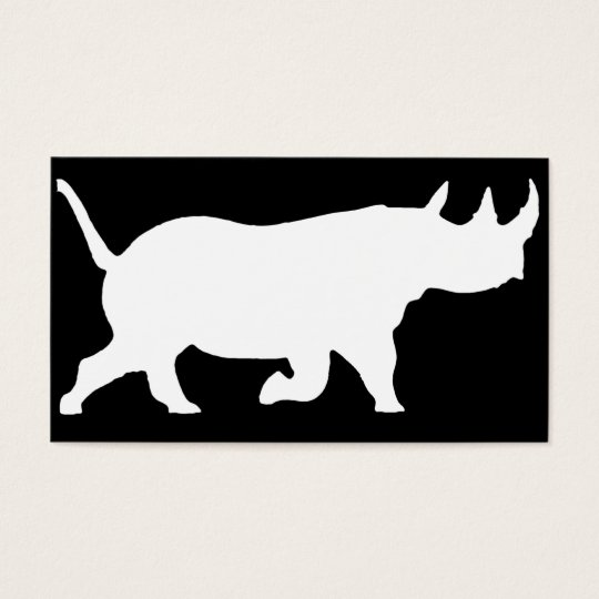 Rhino Silhouette, right facing, Black Background Business Card