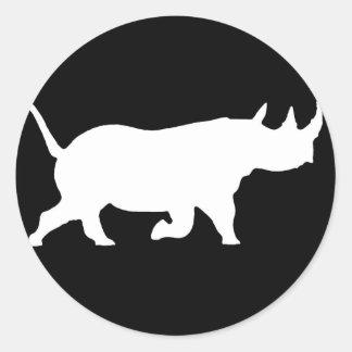 Rhino Silhouette, right facing, Black Background Classic Round Sticker