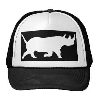 Rhino Silhouette, right facing, Black Background Trucker Hat