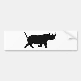 Rhino Silhouette, right facing, White Background Bumper Sticker