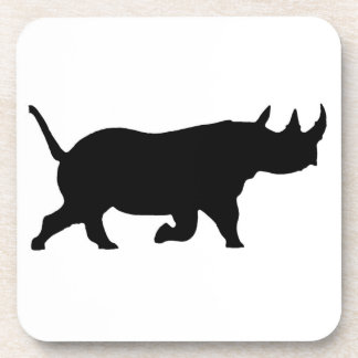 Rhino Silhouette, right facing, White Background Drink Coaster