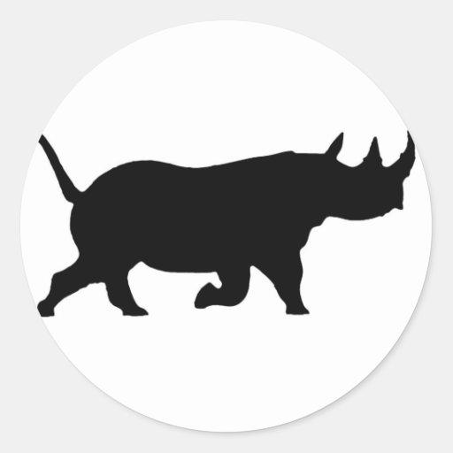Rhino Silhouette, right facing, White Background Round Stickers