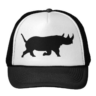 Rhino Silhouette, right facing, White Background Trucker Hat
