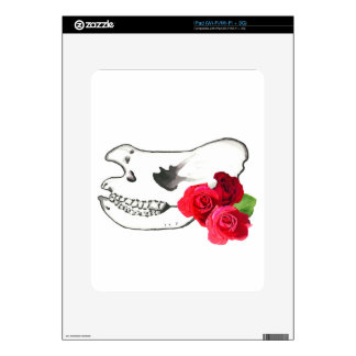 Rhino Skull with Roses Decals For The iPad