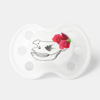 Rhino Skull with Roses Pacifier