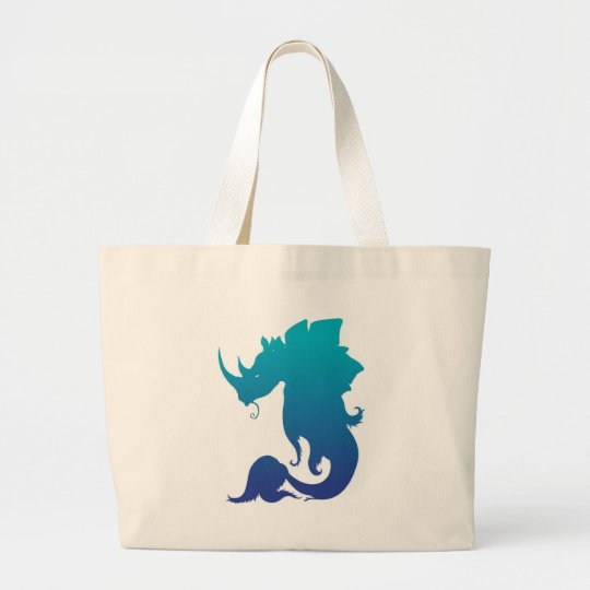 Rhino-Stego-Fish (Water Color Scheme) Large Tote Bag