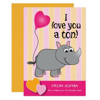 Rhino Valentine's Day Classroom Card