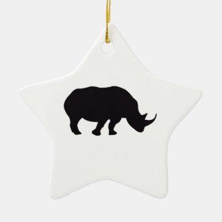 Rhino Vintage Wood Engraving Ceramic Ornament
