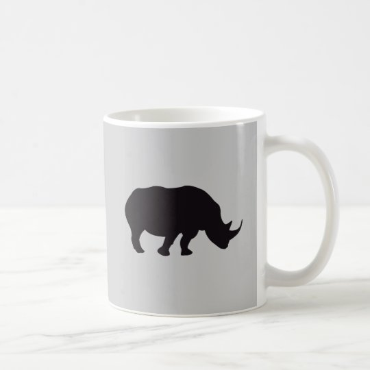 Rhino Vintage Wood Engraving Coffee Mug