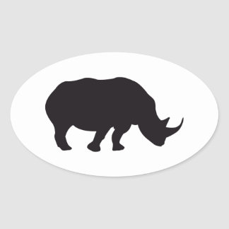 Rhino Vintage Wood Engraving Oval Sticker