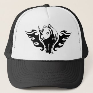 Rhino with flames trucker hat