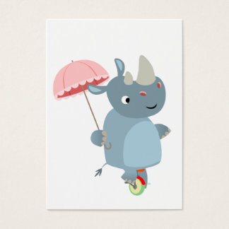 Rhino with Umbrella on Unicycle Business Card