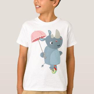 Rhino with Umbrella on Unicycle Children T-Shirt