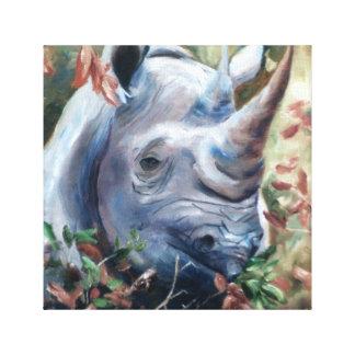 Rhino Wrapped Canvas Print