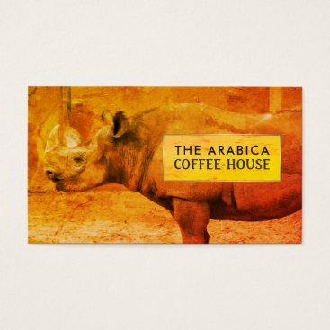 thebusinesscardstore Rhinoceros, African Rhino, Coffee-house Business Card