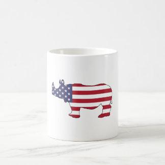 Rhinoceros - American Flag Coffee Mug