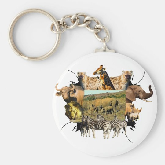 Rhinoceros and Reeds Wildlife Frame Keychain