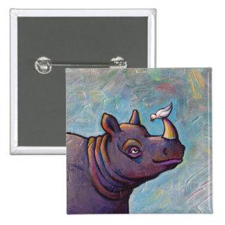 Rhinoceros art little bird gossip fun painting 2 inch square button