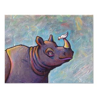 Rhinoceros art little bird gossip fun painting card