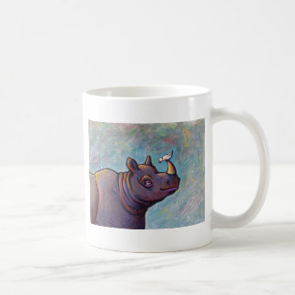 Rhinoceros art little bird gossip fun painting coffee mug