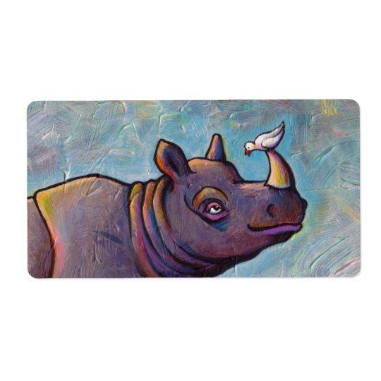 Rhinoceros art little bird gossip fun painting label
