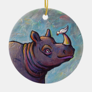 Rhinoceros art little bird gossip fun painting christmas ornament