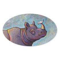 Rhinoceros art little bird gossip fun painting oval sticker