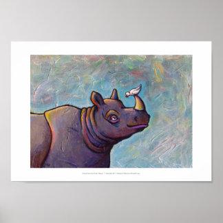 Rhinoceros art little bird gossip fun painting poster