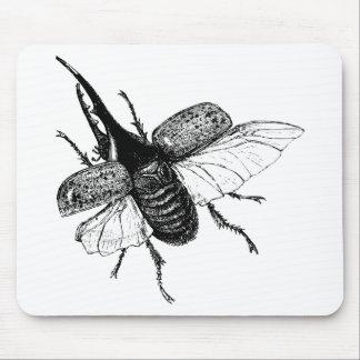 Rhinoceros Beetle Vintage Wood Engraving Mouse Pad