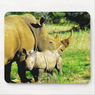 rhinoceros calf and mother mouse pad