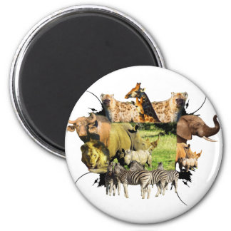Rhinoceros Calf and Mother Wildlife Frame 2 Inch Round Magnet