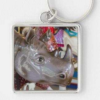 Rhinoceros Carousel Ride on Merry-Go-Round Keychain