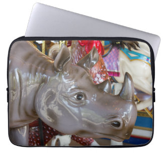 Rhinoceros Carousel Ride on Merry-Go-Round Laptop Computer Sleeves