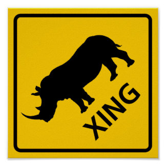 Rhinoceros Crossing Highway Sign
