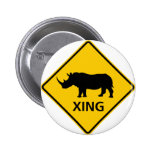 Rhinoceros Crossing Highway Sign 2 Inch Round Button