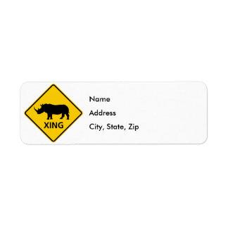 Rhinoceros Crossing Highway Sign Label