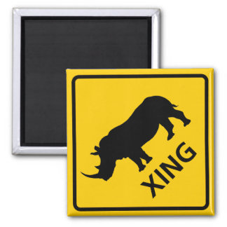 Rhinoceros Crossing Highway Sign Magnet