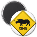 Rhinoceros Crossing Highway Sign Magnets