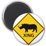 Rhinoceros Crossing Highway Sign Magnets