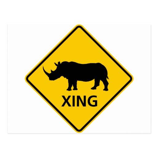 Rhinoceros Crossing Highway Sign Postcard
