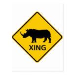 Rhinoceros Crossing Highway Sign Postcards